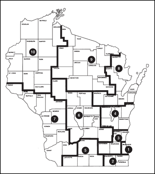 1st Judicial Map of Wisconsin